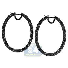 black diamond hoop earrings black diamond oval hoop earrings 18k gold 2 25 inches