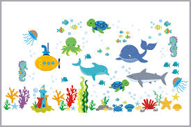 sea creatures nursery decals baby room stickers ocean themed