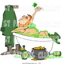 clip art of a leprechaun bathing with green suds and alcohol