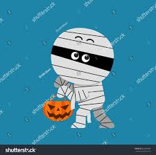 vector cute halloween mummy holding pumpkin stock vector 283493498