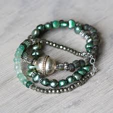 emerald bracelet images Emerald and pearl stacking bracelets by artique boutique jpg