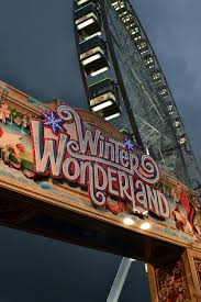 winter themed fairground entrance sign