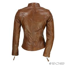 light brown leather jacket womens ladies women s real leather vintage fitted tan brown biker jacket