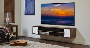 Tv Console Cabinet Design Furniture Dark Brown Floating Media Cabinet With Open Shelf Added