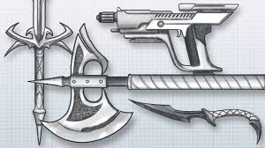 how to design awesome weapons draw your own guns swords axes