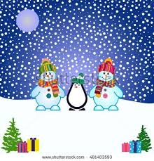 four penguins singing christmas carol snowy stock vector 728391739