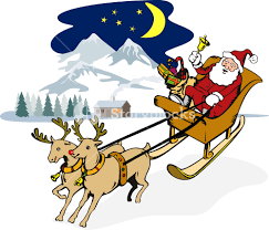 santa claus riding sleigh front1 royalty free stock image