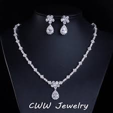 wedding gift jewellery luxury bridal accessories white gold color sparkling cubic