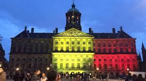 Belgia Flag Standing With Brussels World Landmarks Display Belgian Flag