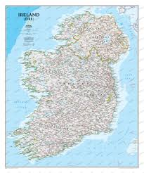 Wall Map Ireland Wall Map Westeurope Countries Europe Wall Maps