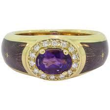 amethyst diamond engagement ring modern faberge enamel amethyst diamond gold ring for sale at 1stdibs