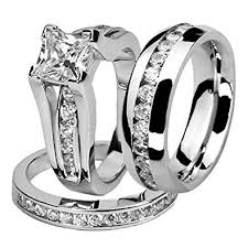his and wedding ring set his and hers stainless steel princess wedding ring set