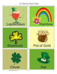 st patrick u0027s day flash cards leprechaun pot of gold shamrock