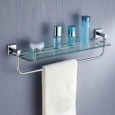 Bathroom Glass Shelves With Towel Bar Bathroom Shelves