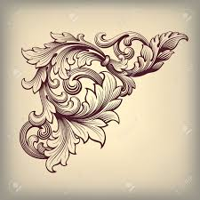vector vintage baroque scroll design frame corner pattern element