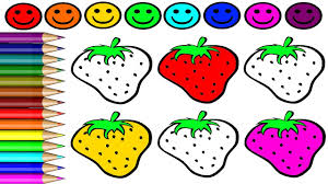 how to drawing strawberry and coloring game learning colouring