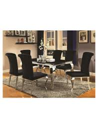 Coaster Dining Room Chairs Carone Contemporary Glam Dining Room Set With Upholstered Black