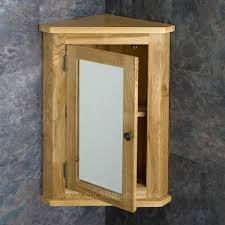 Tall Bathroom Mirror Cabinet - solid oak wall mounted tall corner 60cm tall bathroom mirror