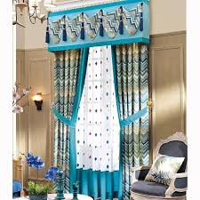 Valance Blue Elegant Curtains Blue Pattern Print Splicing Linen Cotton No Valance