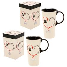 Print On Aprons Paw Prints On My Heart Ceramic Travel Mug The Animal Rescue Site