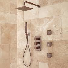 ryle thermostatic shower system with shower and 3 sprays