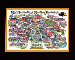 Map Of Mississippi State University by Mississippi State University Linda Theobald Art P O Box 6226