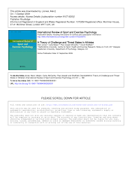 By Challenge A Theory Of Challenge And Threat States In Athletes Pdf