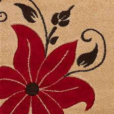 Verona Rugs Beige Red Floral Hand Carved Effect Rug 100 Polypropylene Modern