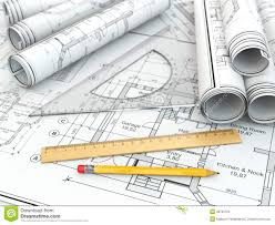 concept of drawing blueprints and drafting tools stock