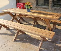 picnic table plans detached benches free picnic table plans with separate benches gallery table