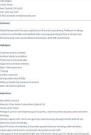 Example Restaurant Resume by Restaurant Resume Sample Hostess Bt Business Plan
