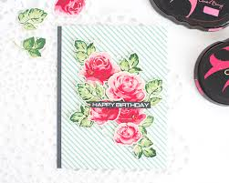 altenew vintage roses birthday card using a misti stamping tool