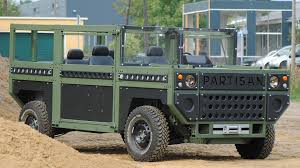 modern army vehicles the partisan one is a flat pack allegedly bomb proof military