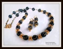 blue beaded necklace images Vintage gold and navy blue beaded necklace and earrings set jpg