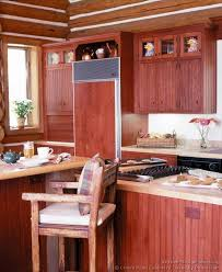 Log Home Kitchen Cabinets - kitchen cabinets traditional red 003 cp508b early american island log home panelized fridge jpg