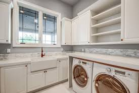 Sink For Laundry Room Laundry Room With High Ceiling Farmhouse Sink In Scottsdale Az