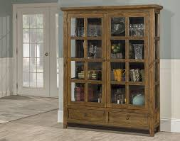 Pine Bookcase With Doors Tuscan Retreat Display Cabinet 2 Doors 2 Drawers With Clear Glass
