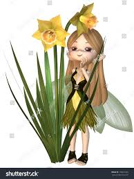 cute toon daffodil fairy green yellow stock illustration 178041428