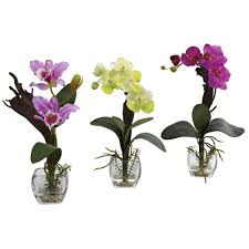 white purple orchid silk flower arrangement with cube set of 3