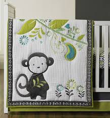 crib bedding ideas for boys with happy chic safari monkey on green