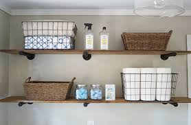 diy laundry room storage ideas pipe shelving