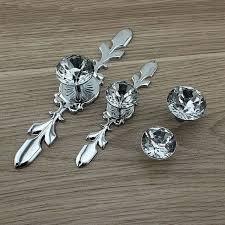 crystal cabinet door handles glass dresser knob pull crystal drawer knobs pulls handle silver
