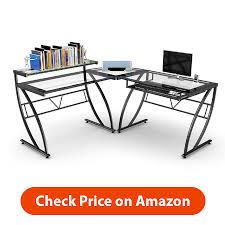 Z Line Designs Computer Desk Glass L Shaped Desk Office Executive Desk Sets Furniture Glass L