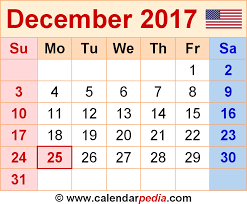 december calendar 2017 with holidays 2017 calendars