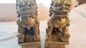 foo lions for sale pair bronze colour feng shui foo fu lion dogs guardian