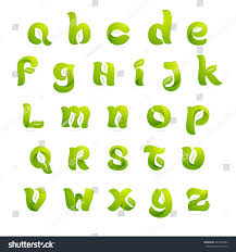 ecology english alphabet letters leaves negative stock vector