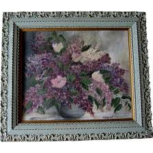 lilacs oil painting victorian antique frame large french blue