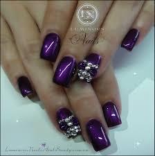 gel acrylic nail designs purple acrylic pink bows full set nails