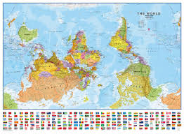 Hanging Flag Upside Down Upside Down World Wall Map Political With Flags