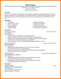 Sample Event Planner Resume Objective by Events Coordinator Resume Wedding Templates For Word